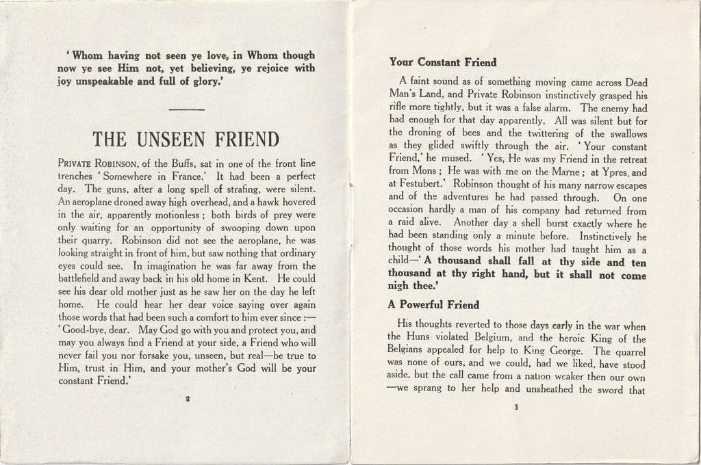 The Unseen Friend A K Yapp YMAC WWI Antique Booklet Inside