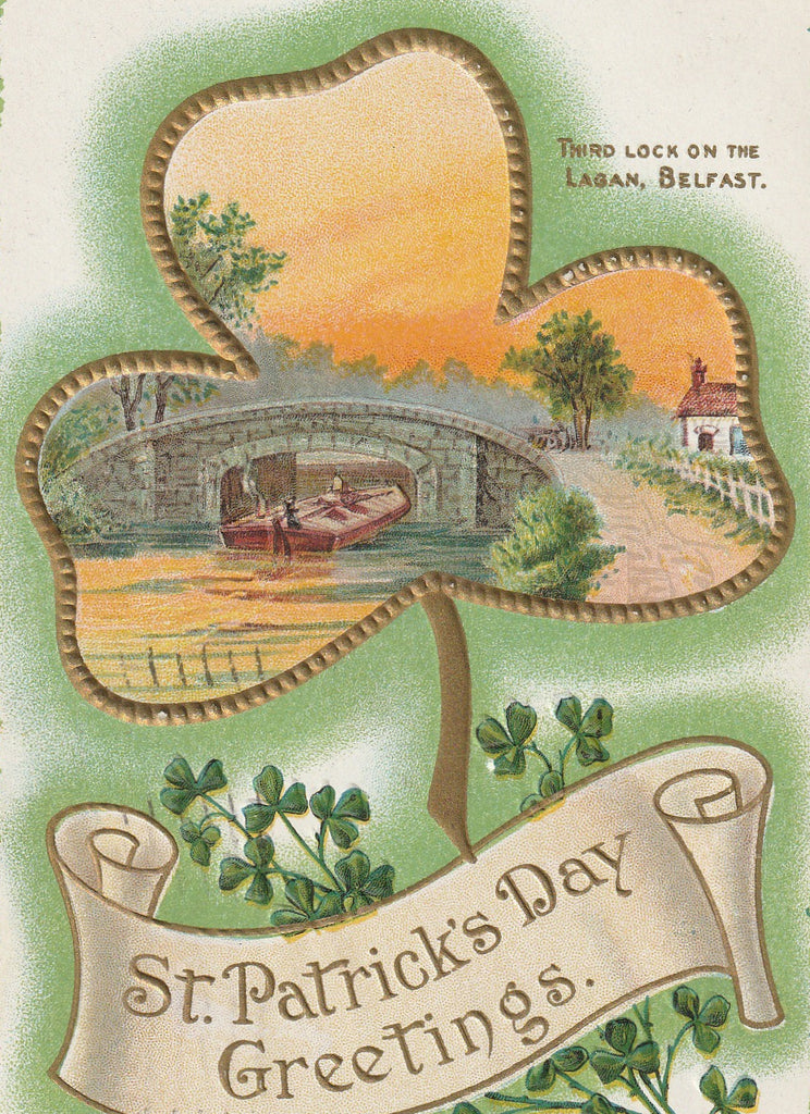 Third Lock on Lagan Belfasr Ireland St. Patrick's Day Postcard Close Up