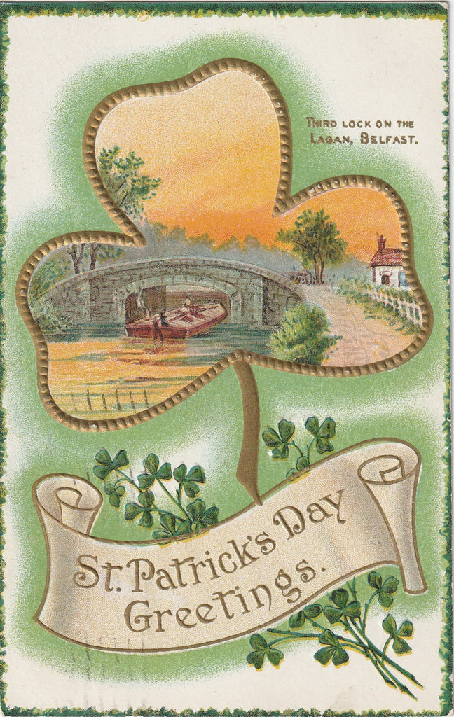Third Lock on Lagan Belfasr Ireland St. Patrick's Day Postcard