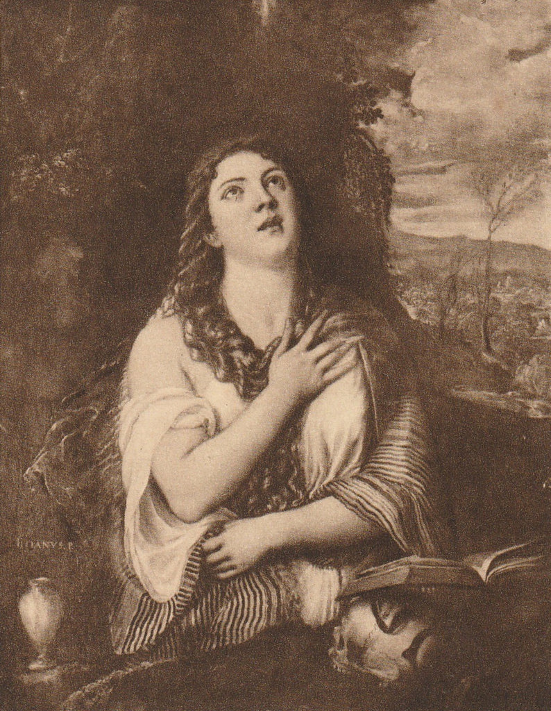Mary Magdalene Tiziano Vecellio Postcard Close Up