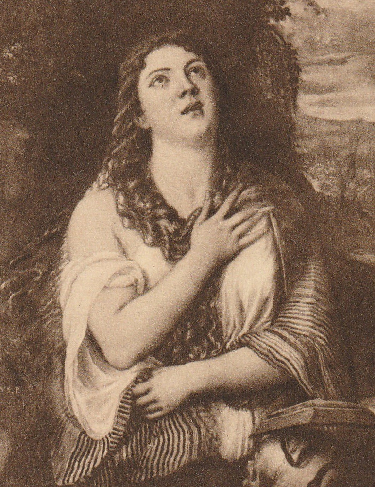 Mary Magdalene Tiziano Vecellio Postcard Close Up 2