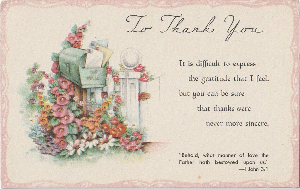 To Thank You - Sunshine Series - Postcard, c. 1940s