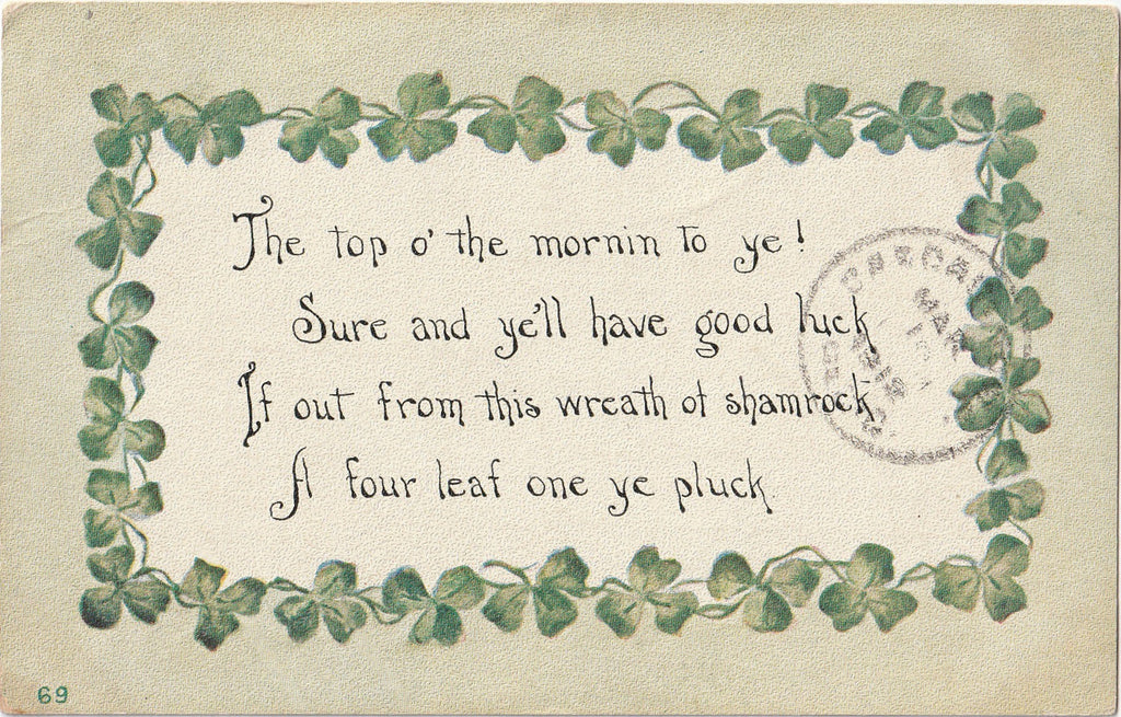Top O' The Morning To Ye St Patrick's Day Postcard