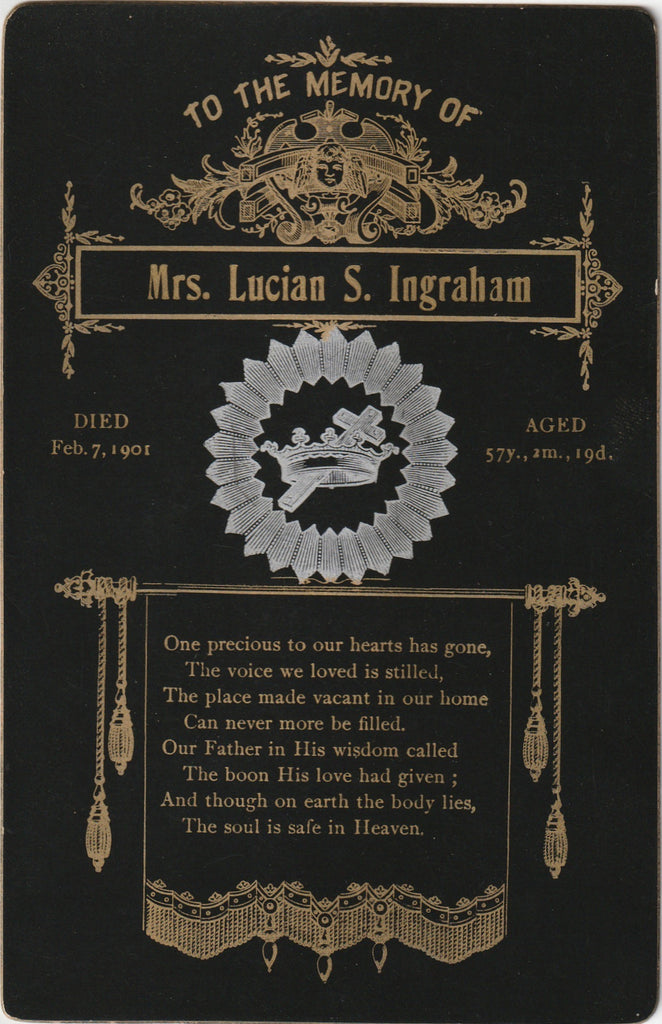 Mrs. Lucian S. Ingraham Died Feb. 7 1901 Memorial Cabinet Card