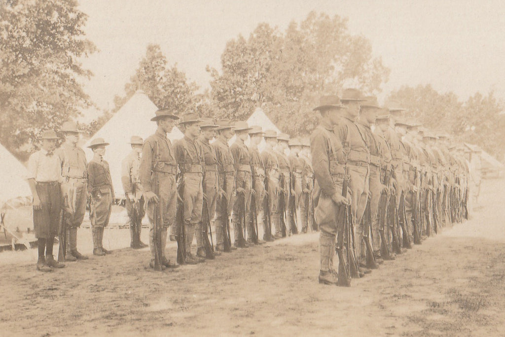 Troops in Formation Camp Douglas WI RPPC Close Up