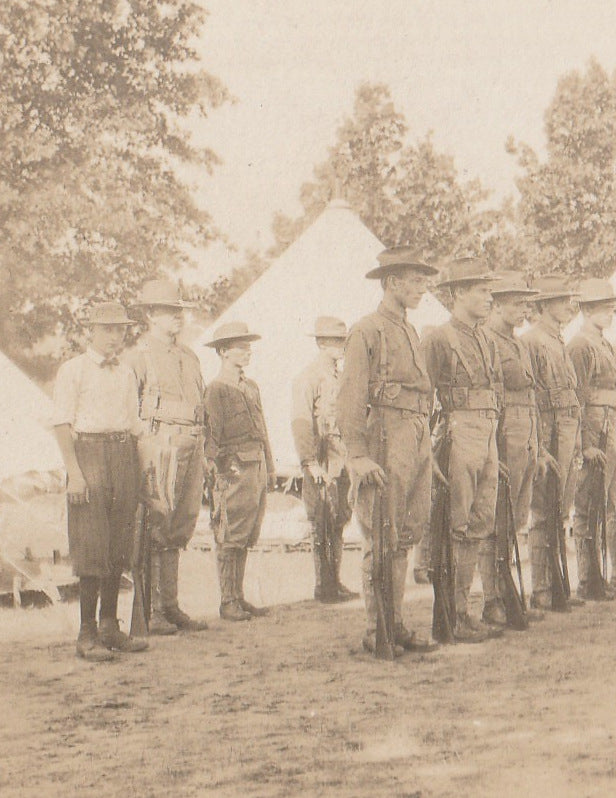 Troops in Formation Camp Douglas WI RPPC Close Up 2