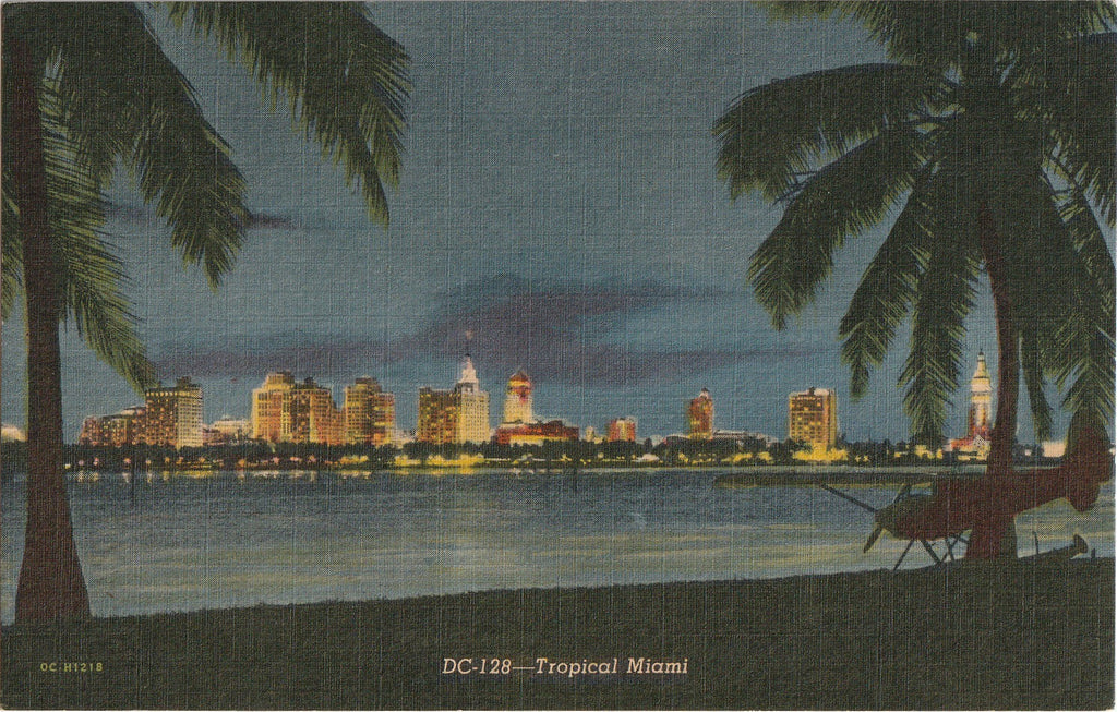 Tropical Miami Florida By Night Postcard