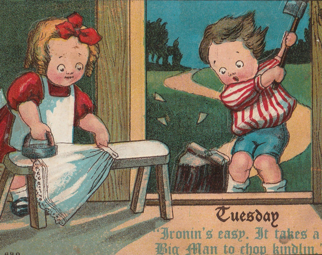 Tuesday Ironin's Easy Takes a Big Man to Chop Kindlin Antique Postcard Close Up