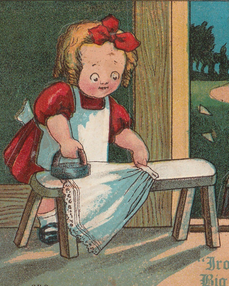 Tuesday Ironin's Easy Takes a Big Man to Chop Kindlin Antique Postcard Close Up 2