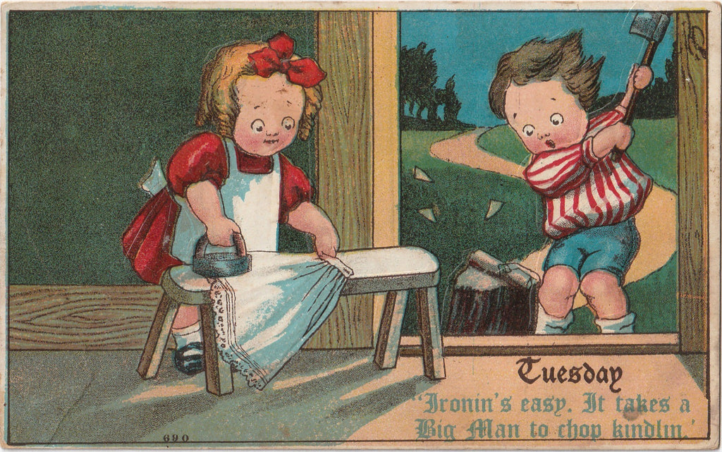Tuesday Ironin's Easy Takes a Big Man to Chop Kindlin Antique Postcard