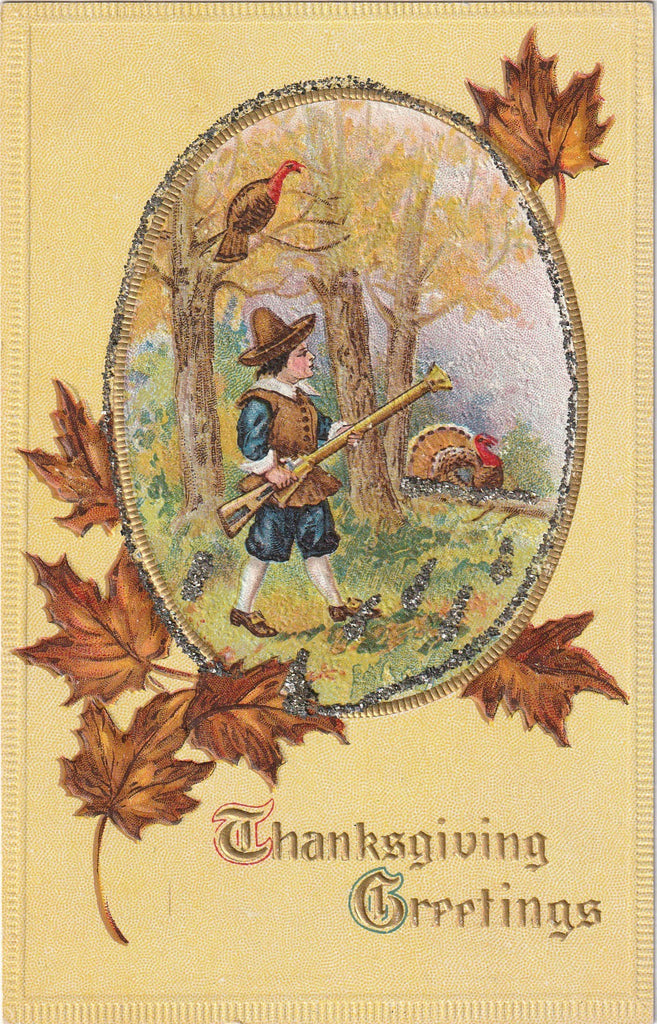 Turkey Hunt - Thanksgiving Greetings - Postcard, c. 1900s