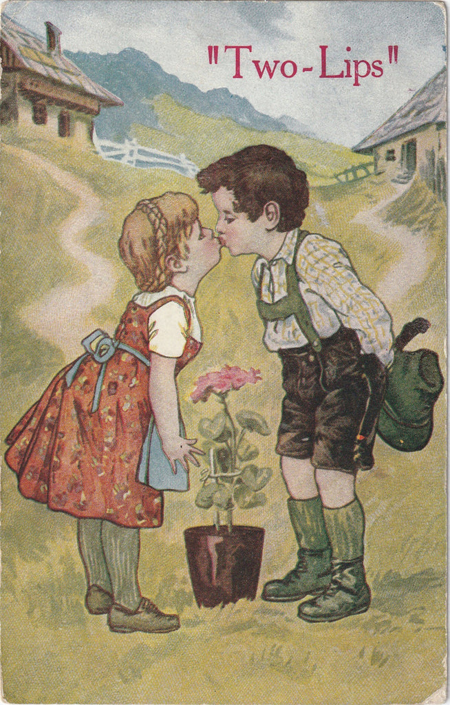 Two-Lips Kissing - Dutch Tulips - Postcard, c. 1900s