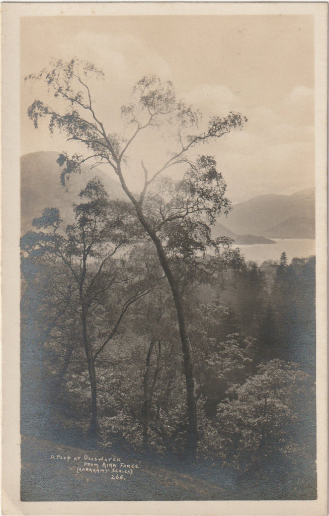 A Peep at Ullswater from Air Force - Lake District, England - RPPC, c. 1910s