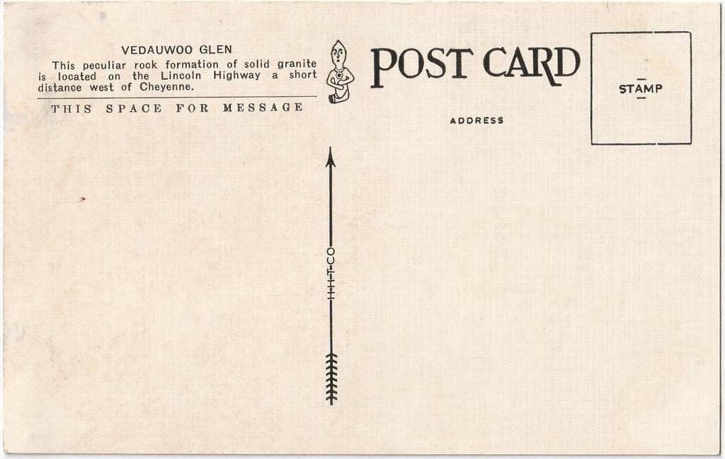 Vedauwoo Glen - Lincoln Highway - Cheyenne, Wyoming - Postcard, c. 1910s Back