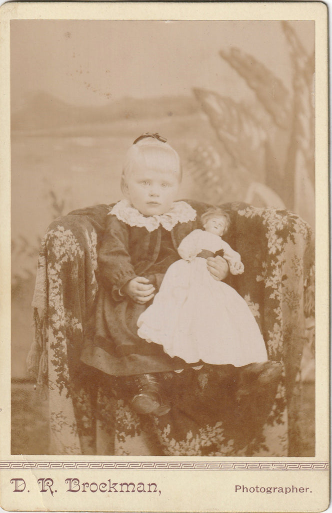 Victorian Girl and Dolly D R Brockman Cabinet Photo