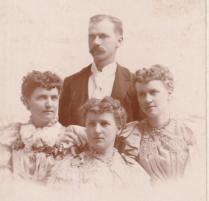 Victorian Quadruplets - W. F. Bierhaus - Milwaukee, WI - Cabinet Photo, c. 1890s Close Up