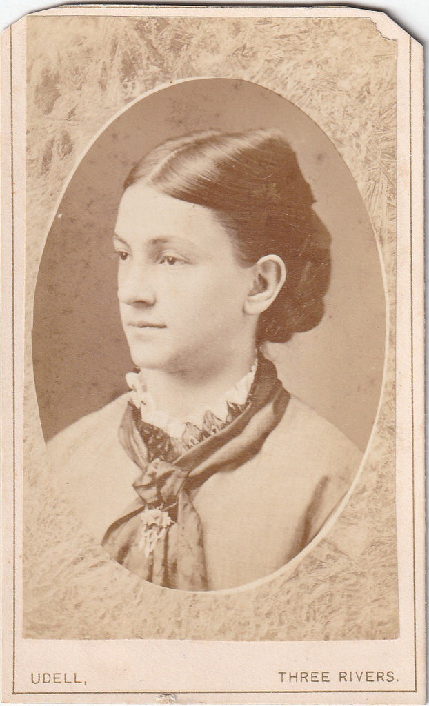 Victorian Woman - Memorial Portrait - Udell - Three Rivers, MI - CDV Photo, c. 1800s