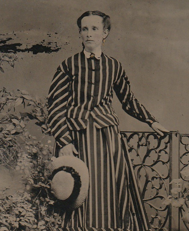 Victorian Woman in Stripes Antique Tintype Photo Close Up