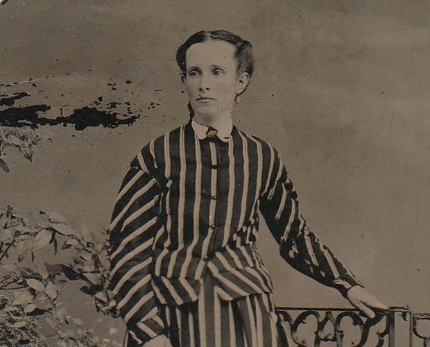 Victorian Woman in Stripes Antique Tintype Photo Close Up 2