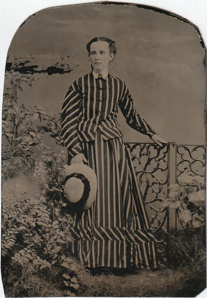 Victorian Woman in Stripes Antique Tintype Photo
