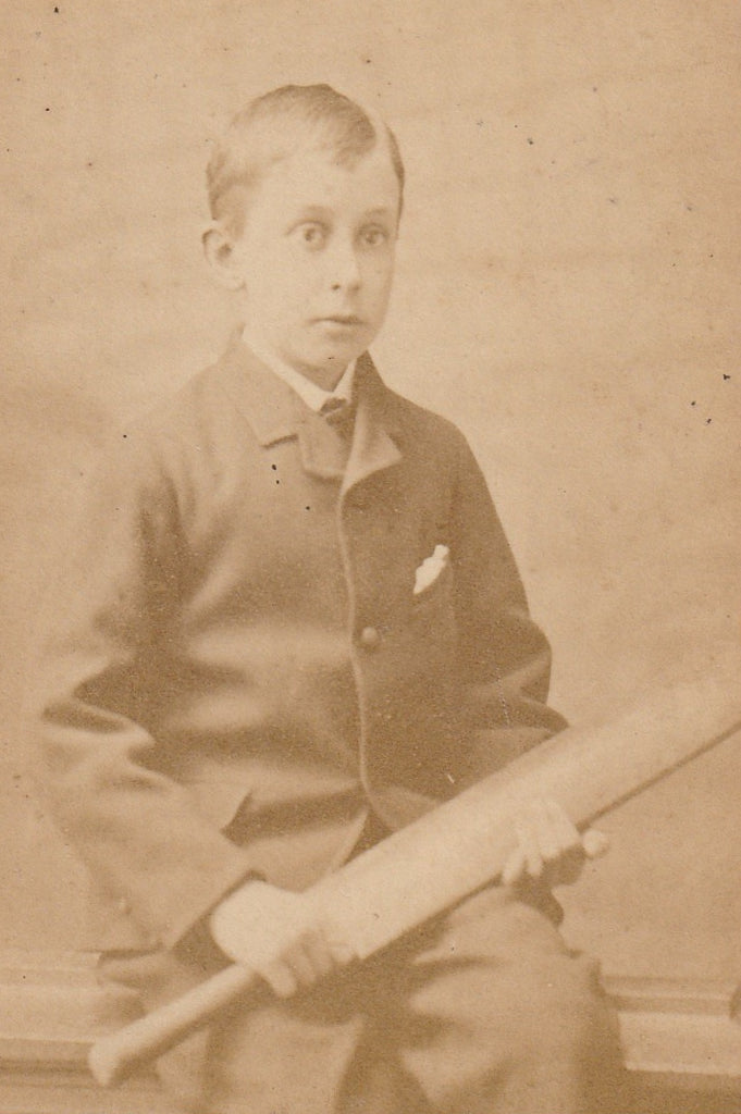 Victorian Cricketer Boy CDV Close Up