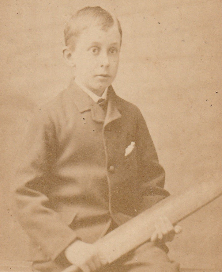 Victorian Cricketer Boy CDV Close Up  2