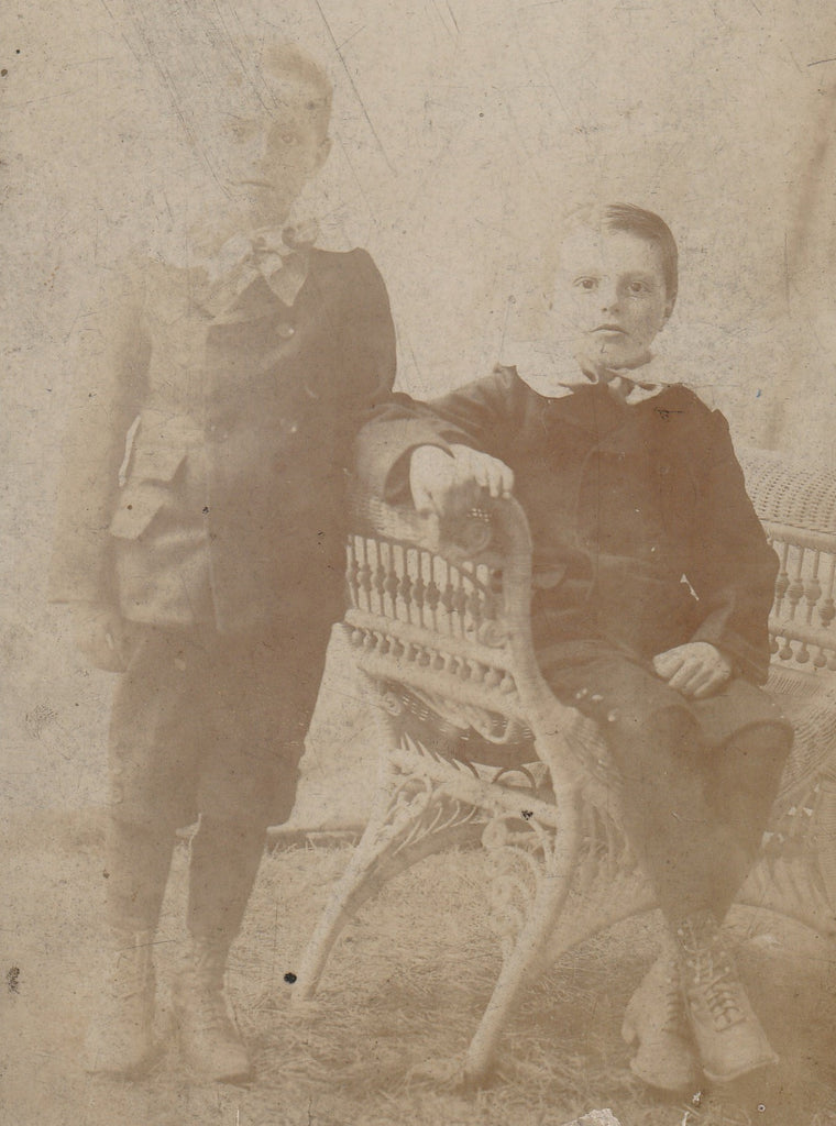 Victorian Ghost Twins Cabinet Photo Close Up