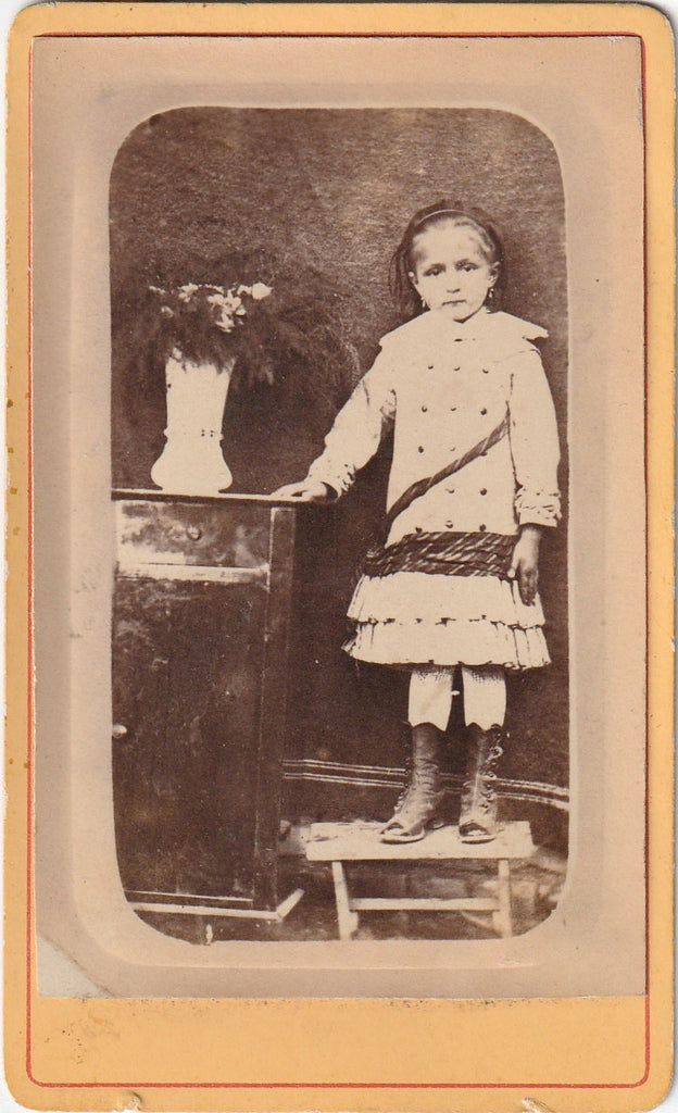 Victorian Girl in Mourning Antique Photo CDV