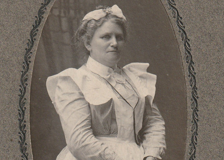 Victorian Nurse Franklin PA Antique Cabinet Photo Close Up 3