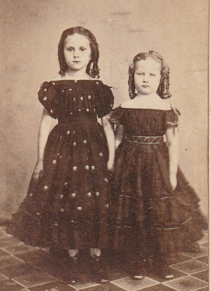 Victorian Sisters Antique CDV Photo Close Up