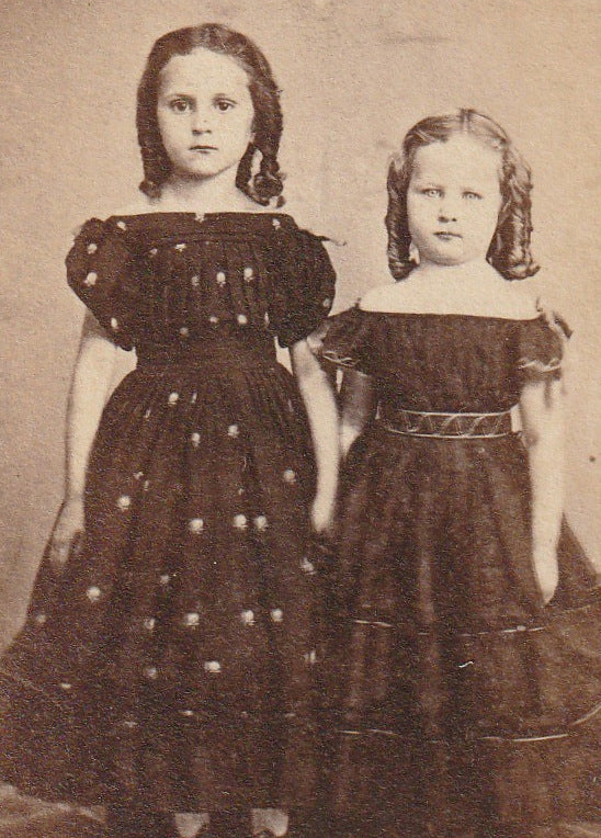 Victorian Sisters Antique CDV Photo Close Up 2