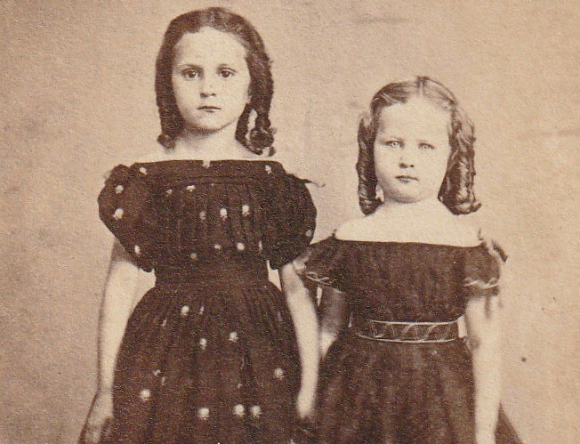 Victorian Sisters Antique CDV Photo Close Up 3