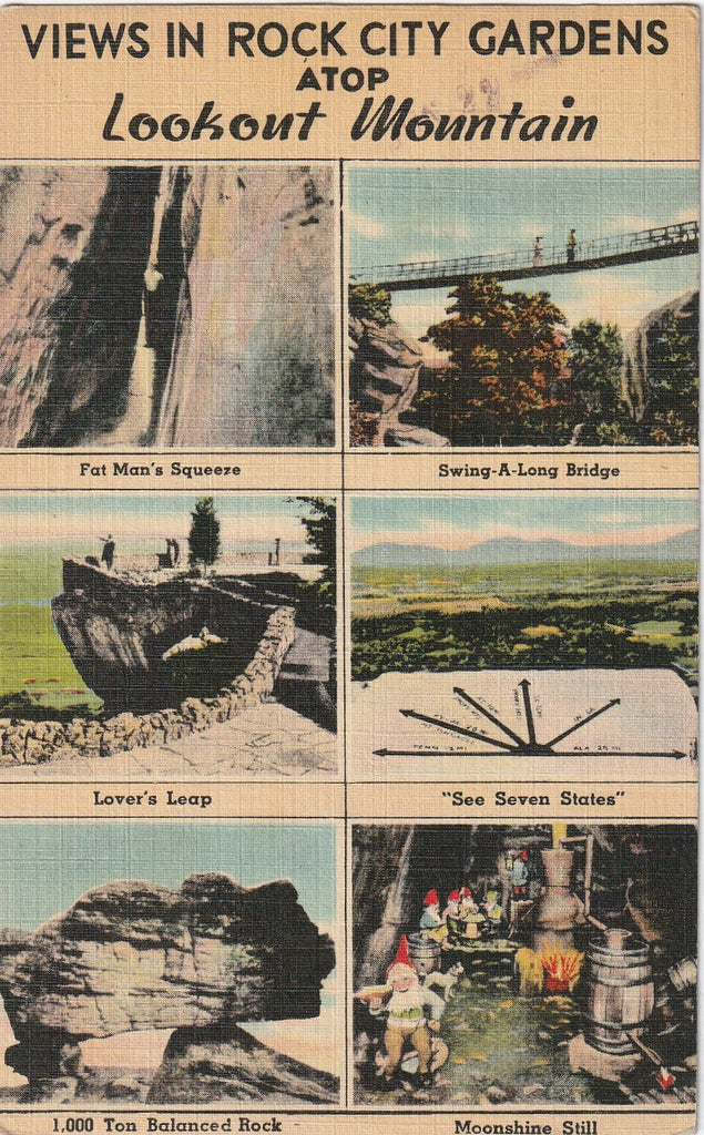 Views in Rock City Atop Lookout Mountain Postcard