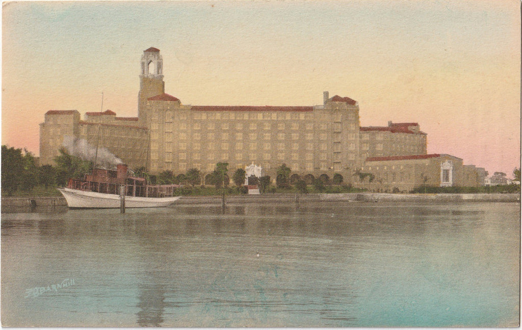 Vinoy Park Hotel from Yacht Basin - St. Petersburg, Florida - Postcard, c. 1910s