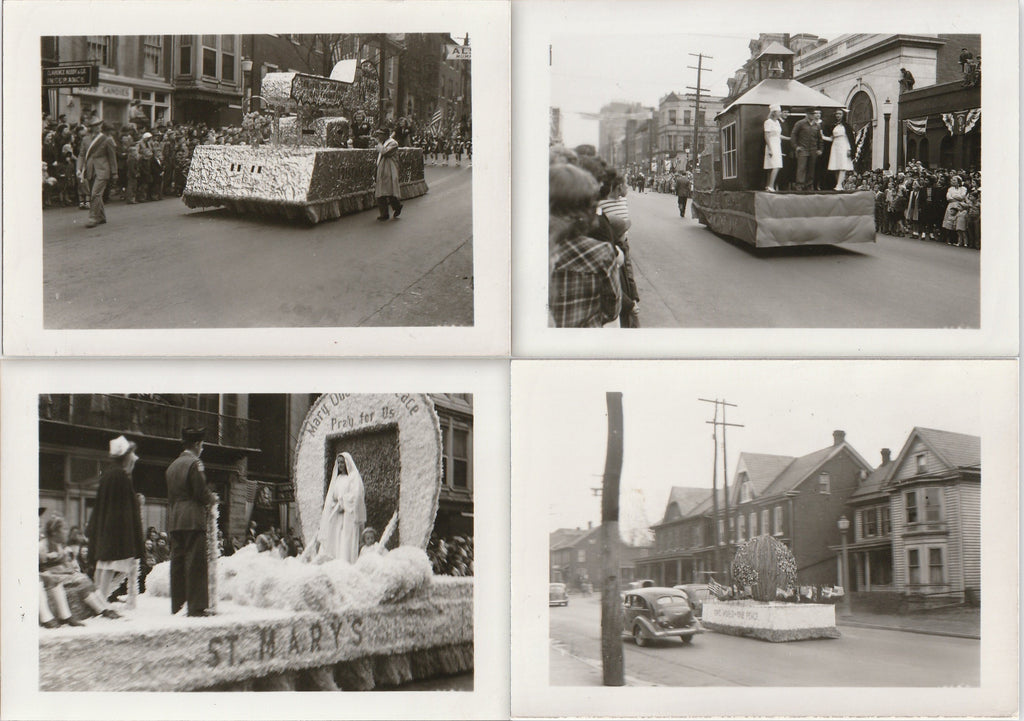 One World, One Peace - WWII Holiday Parade Floats - SET of 4 - Snapshots, c. 1940s