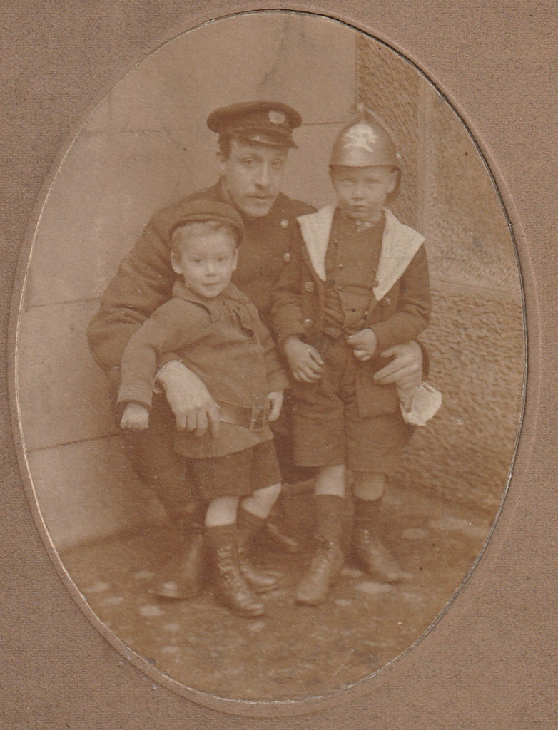WWI British Officer Boy in Helmet Antique Cabinet Photo Close Up