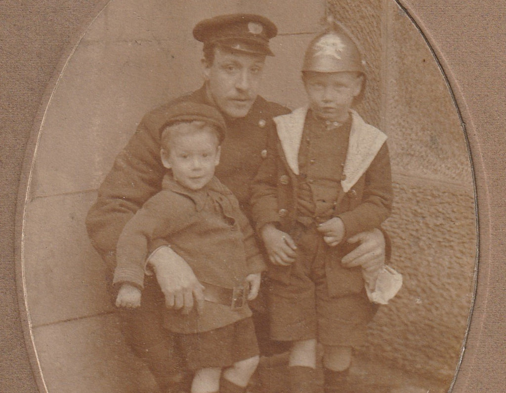 WWI British Officer Boy in Helmet Antique Cabinet Photo Close Up 4