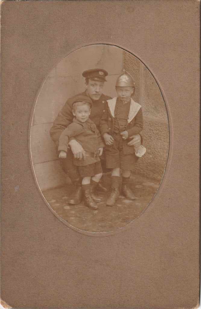 WWI British Officer Boy in Helmet Antique Cabinet Photo
