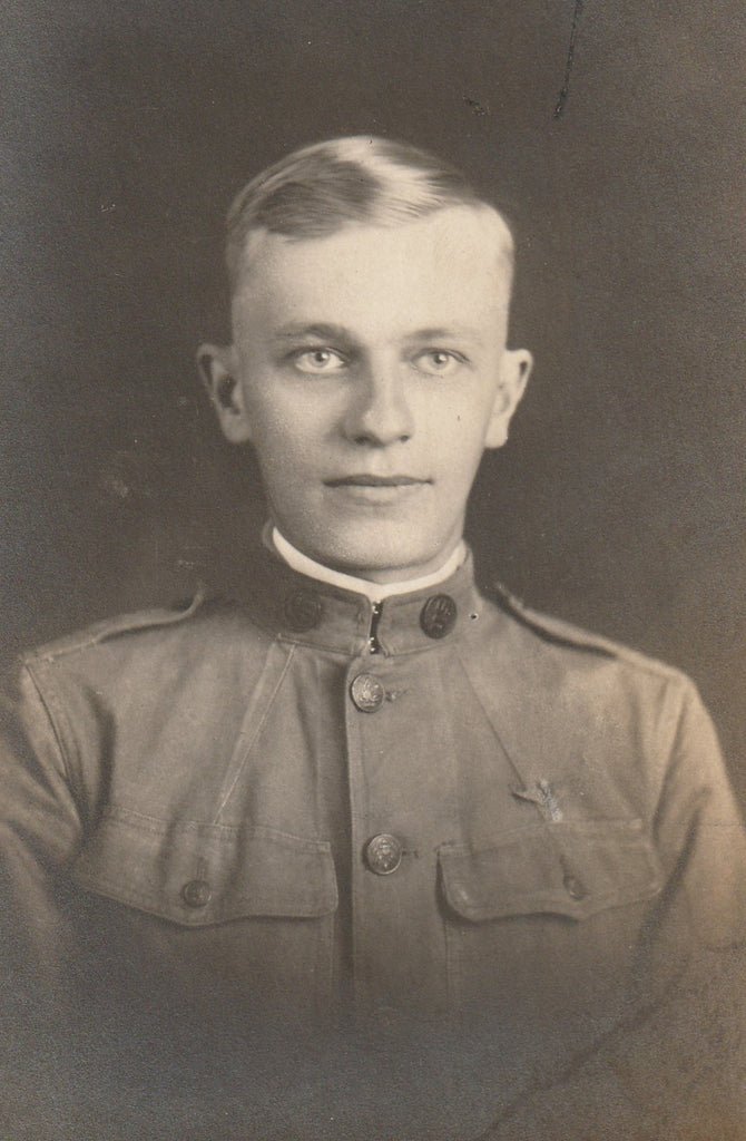 WWI Soldier RPPC Antique Photo Close Up