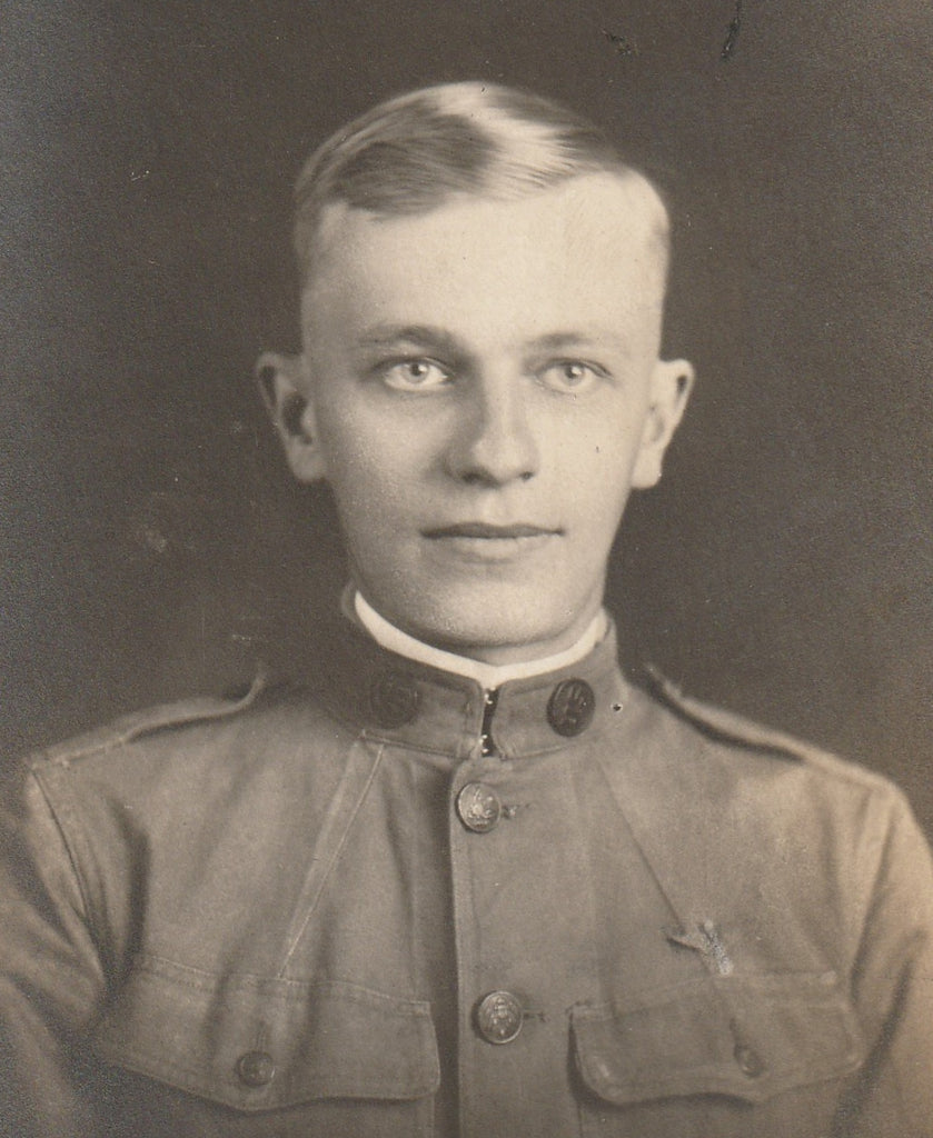 WWI Soldier RPPC Antique Photo Close Up 2