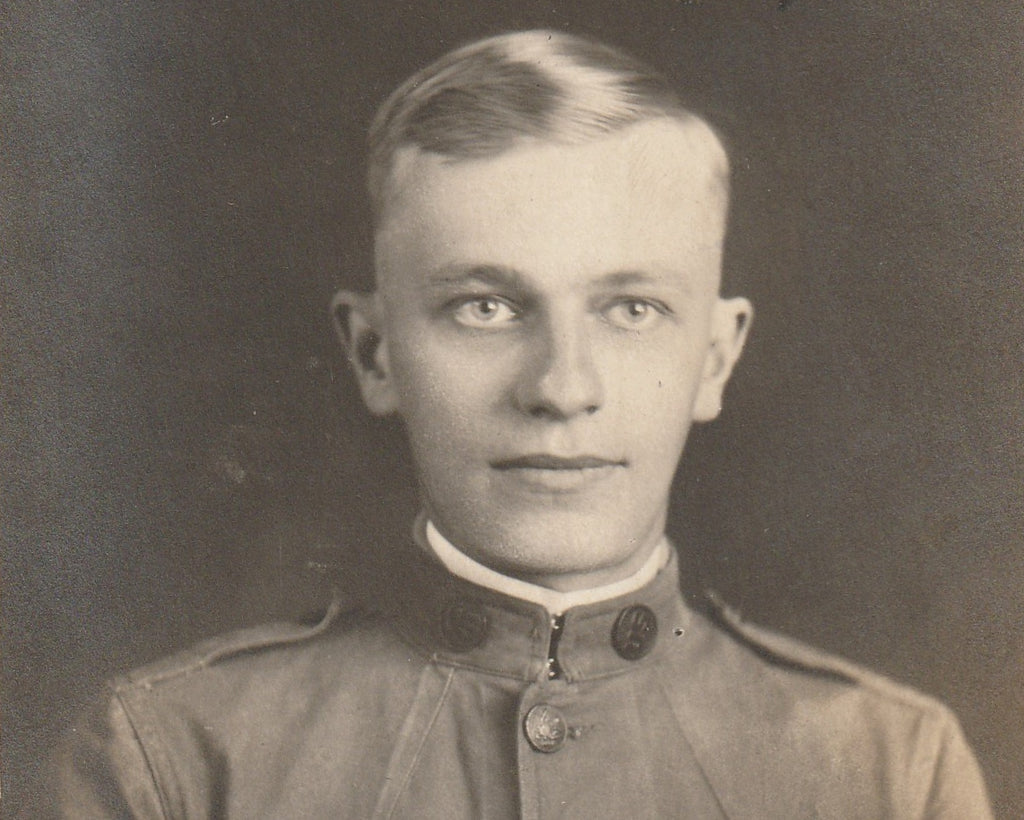 WWI Soldier RPPC Antique Photo Close Up 3