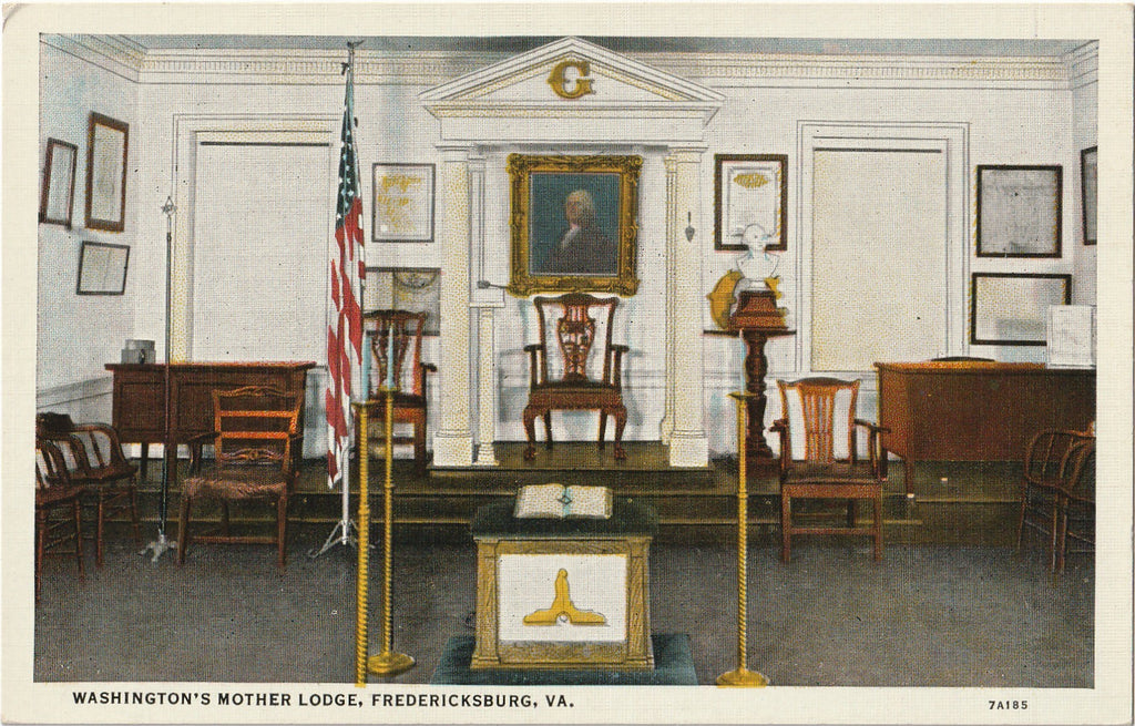 Washington's Masonic Lodge Vintage Postcard