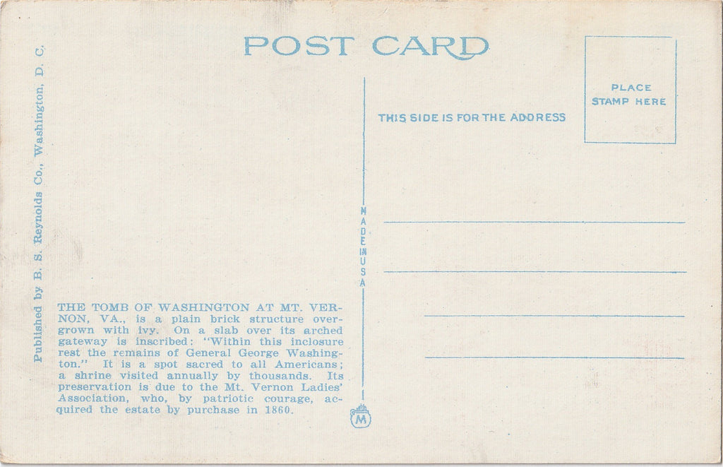 Washington's Tomb Mt Vernon VA Antique Postcard Back