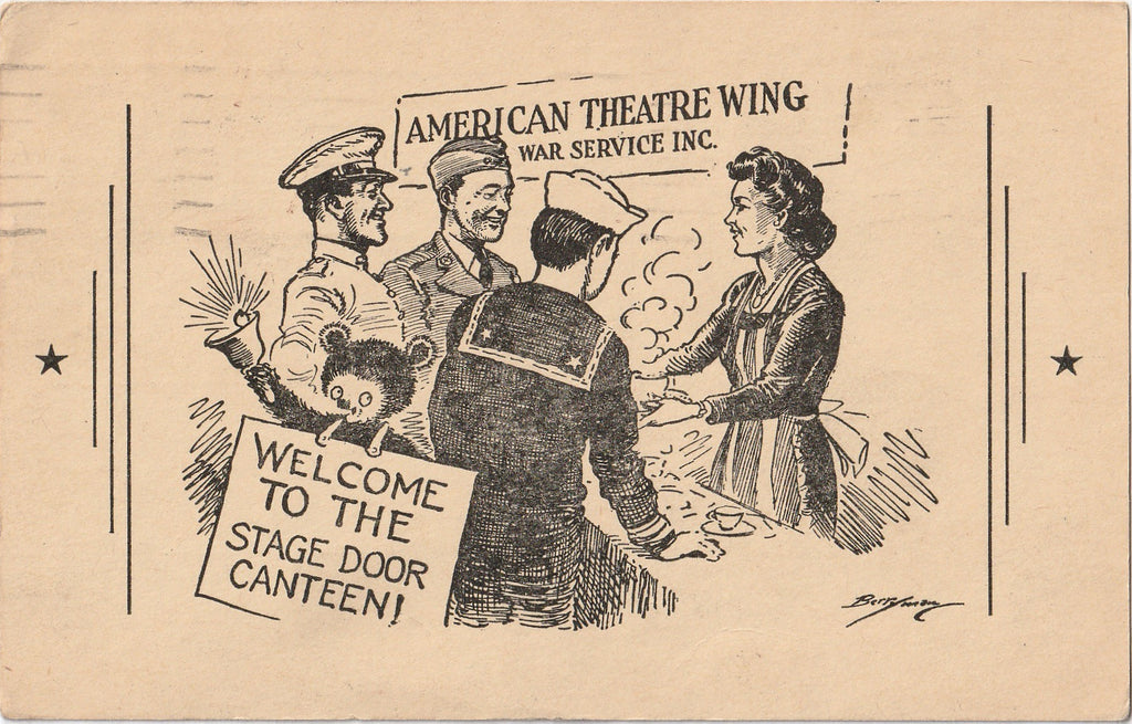 Stage Door Canteen - American Theatre Wing - Postcard, c. 1940s