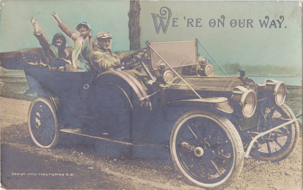 We're On Our Way- 1900s Antique Photograph- Edwardian Motorists- Hand Tinted- Real Photo Postcard- Bromide RPPC