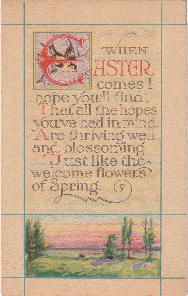 When Easter Comes I Hope You'll Find - Postcard, c. 1920s