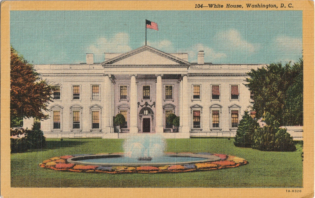 White House Fountain Washington DC Postcard