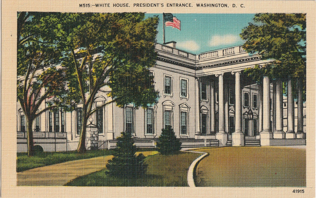 White House President's Entrance Washington DC Postcard