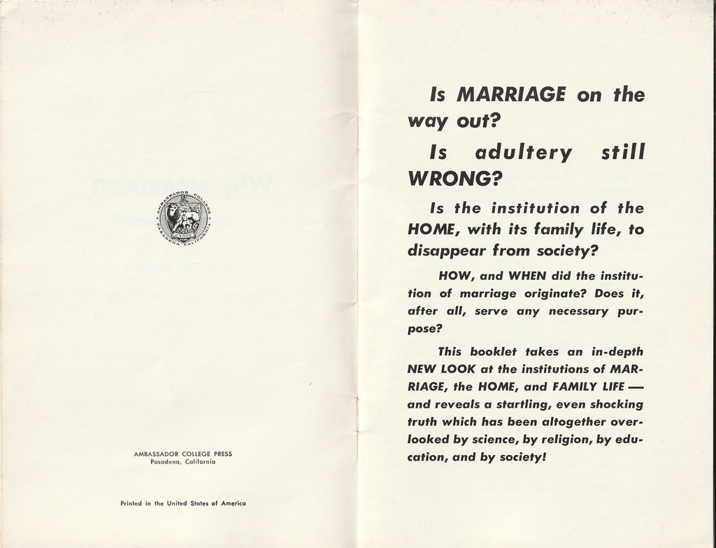 Why Marriage, Soon Obsolete? - Herbert W. Armstrong - Booklet, c. 1968 Inside 1