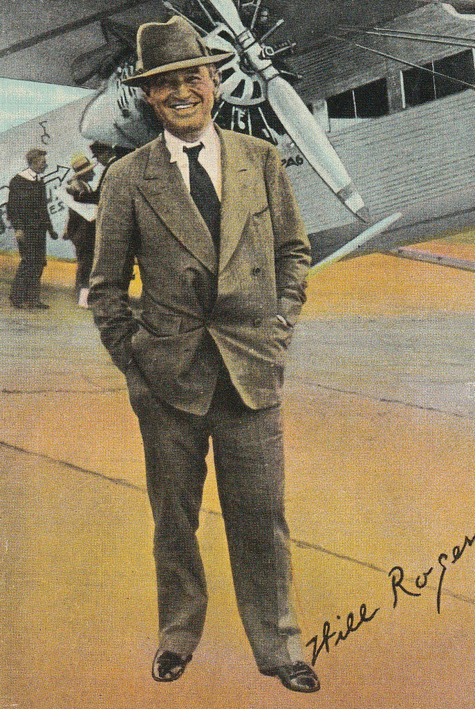 Will Rogers and Plane Vintage Postcard Close Up